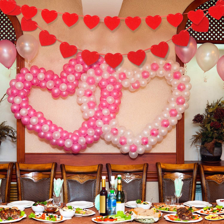 Tatuo 4 Ensembles Banni/ères de Coeur de Saint-Valentin Guirlandes de Coeur en Feutre D/écorations Suspendues de Vacances pour Fournitures de Mariage F/ête Anniversaire Jeu de Couleur 1