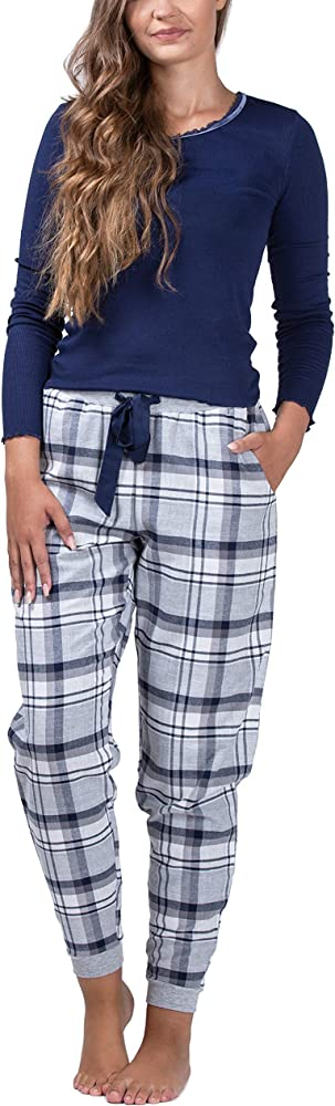 maluuna Pijama de Mujer con pantalón de Franela y puños 100% algodón, Color:Azul Marino, Größe:S: Amazon.es: Ropa y accesorios