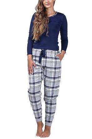 maluuna - Damen Schlafanzug mit Flanellhose und Bündchen aus 100% Baumwolle