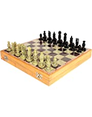 """StonKraft 12x12"""" Stone Wooden Chess Game Board Set + Hand Crafted Pawns"""