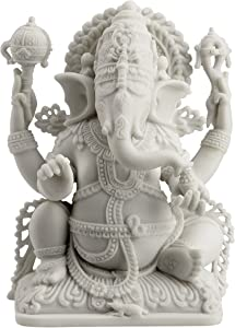JFSM INC Rare Ganesh Lord of Prosperity & Fortune Statue White Finish