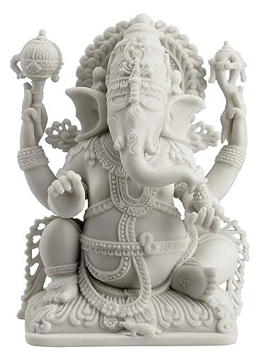 JFSM INC Rare Ganesh Lord of Prosperity Fortune Statue White Finish