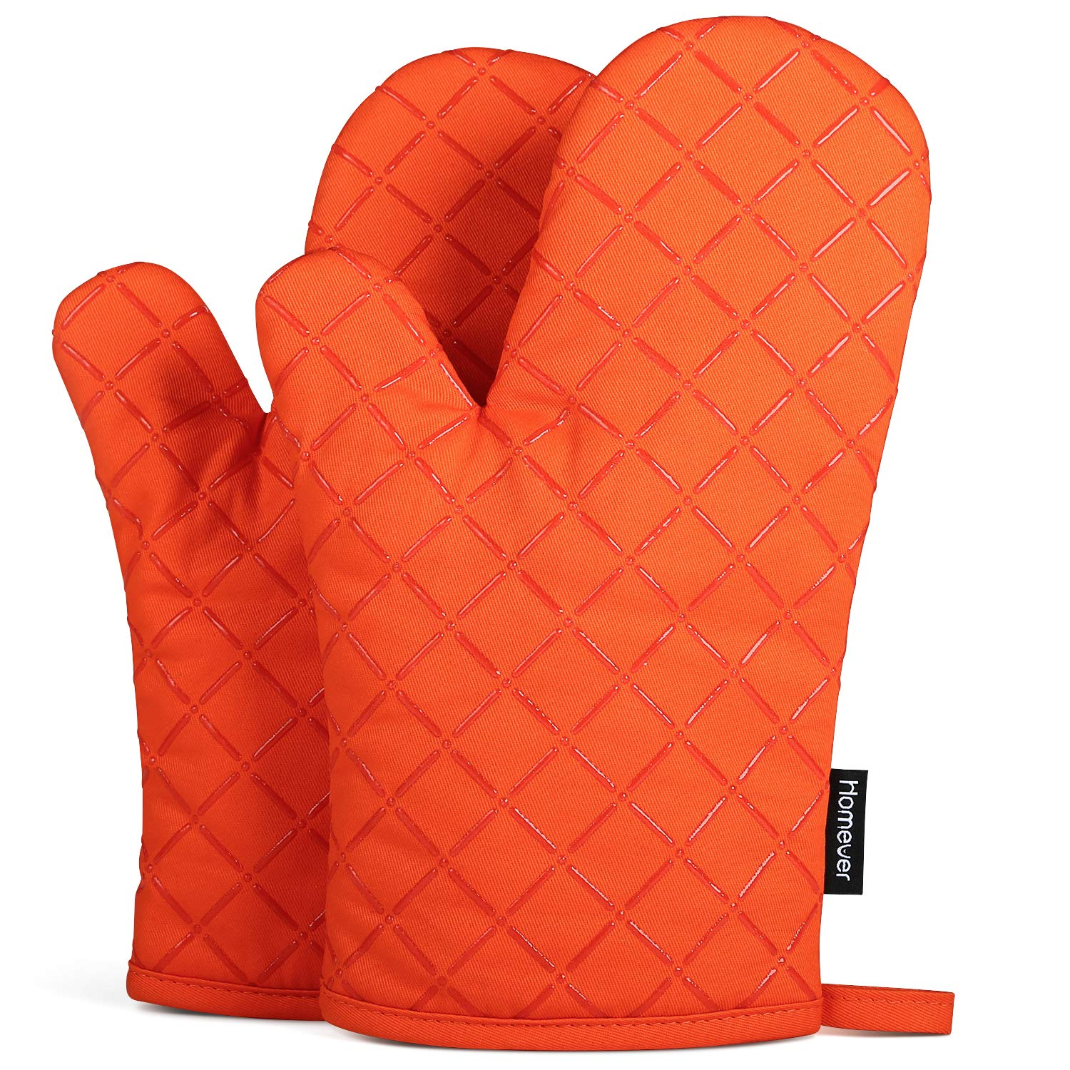 Homever Cotton Oven Mitts with Silicone, Heat Resistant to 464° F, Recycled Cotton Infill, Flexibility Non-Slip Kitchen Oven Gloves for Baking and Kitchen, 1 Pair (Orange)