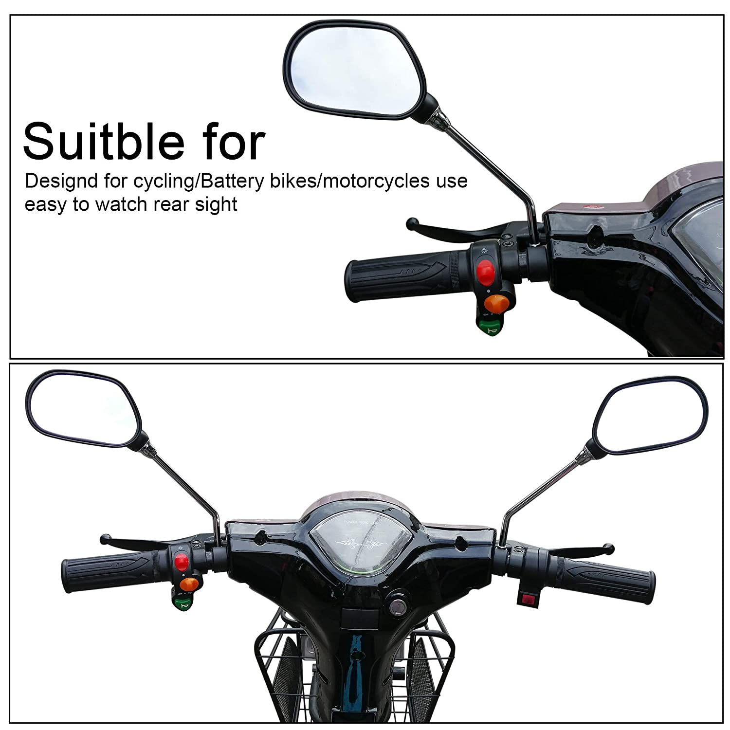 Safe 360 Rotation Rearview Mirror Mountain Bike Motorcycle Bicycle Rearview Mirrors Adjustable Rotatable Handlebars Glass Mirror