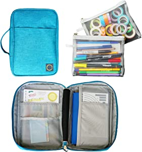 Journal Supplies Organizer Case (Teal) - Custom-Designed Storage, Holder, Travel Case for A5 Bullet Journal Planner, Bullet Journal Supplies and Accessories (Case Only - Supplies Not Included)