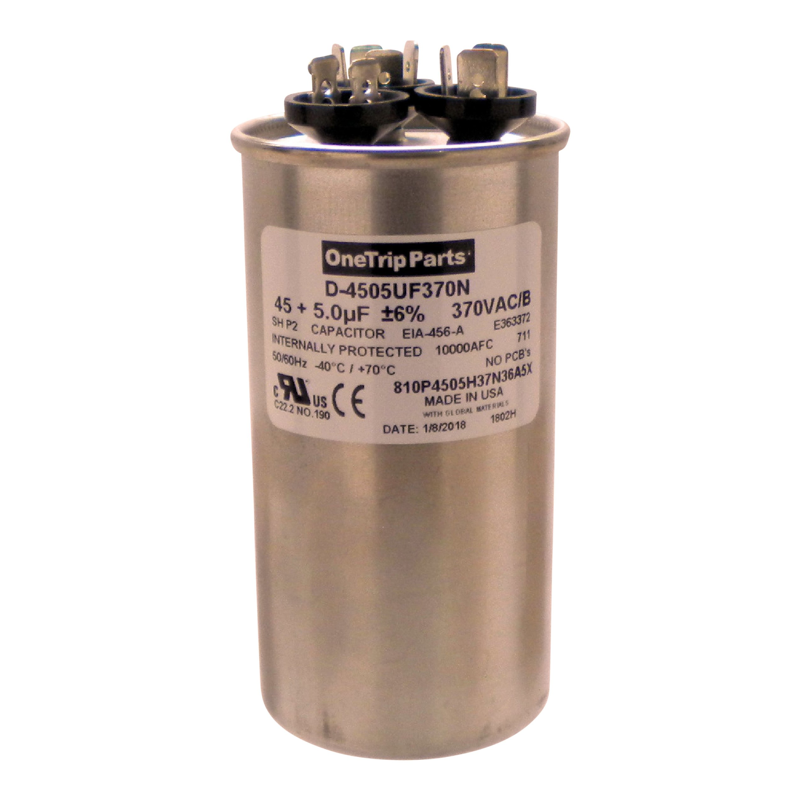 OneTrip Parts USA Run Capacitor 45+5 MFD 370 VAC 2'' Round Replacement For Carrier Bryant Payne Day & Night P291-4553 by OneTrip Parts