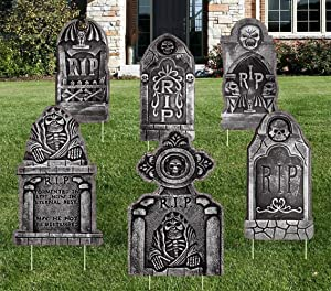 NIGHT-GRING Yard Signs for Halloween Props Yard Stakes Tombstone Yard Sign Stakes for Halloween Decorations Outdoor Lawn Decor 6 Pack Yard Decorations