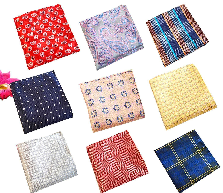 UQ Mens Fashion Poly Silky Pocket Square 2525 Suits Hankies Pack