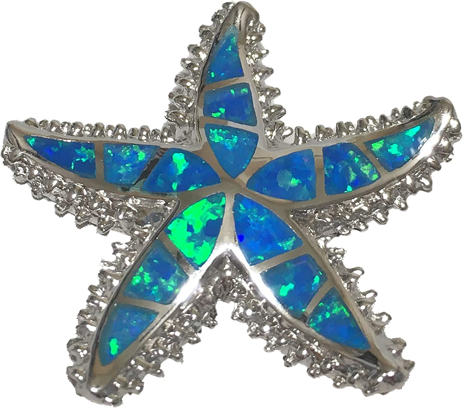 Sterling Silver Hawaiian Starfish Pendant Necklace With Synthetic Blue Opal With 18 Silver Chain A6020