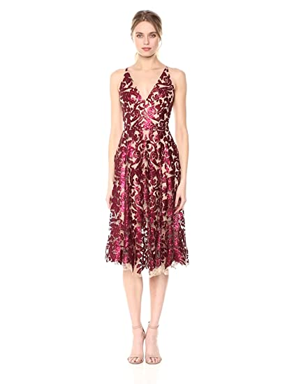 Dress The Population Women S Blair Plunging Fit And Flare Midi Dress