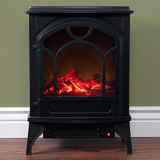 Living Room More Black Northwest Electric Fireplace Indoor Freestanding Space Heater Faux Log And Flame Effect Warm Classic Style For Bedroom Home Kitchen Zuiverlucht Fireplaces