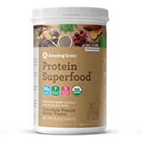 Amazing Grass Protein Superfood: Vegan Protein Powder, All-in-One Nutrition Shake, Chocolate Peanut Butter, 10 Servings