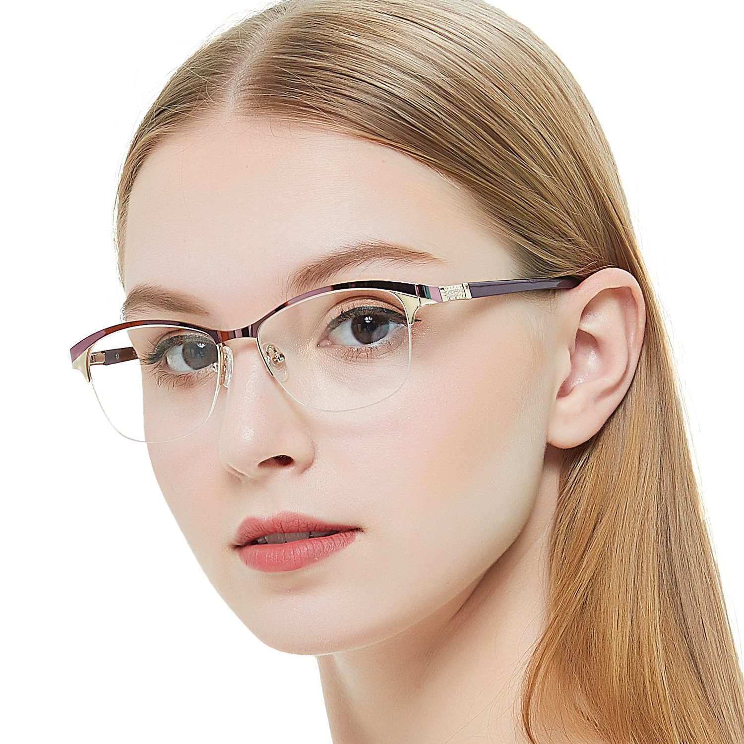 OCCI CHIARI Fashion Women Thin TR90 Rectangular Eyewear Frames with Clear Lenses spring hinge