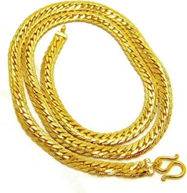 Braid 22K 23K 24K THAI BAHT Yellow Gold Plated Necklace 20 inch Jewelry 3 mm