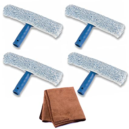 Ettore 50010 Mighty Window Washer, 10-Inch, 4-Pack with Cleaning Cloth