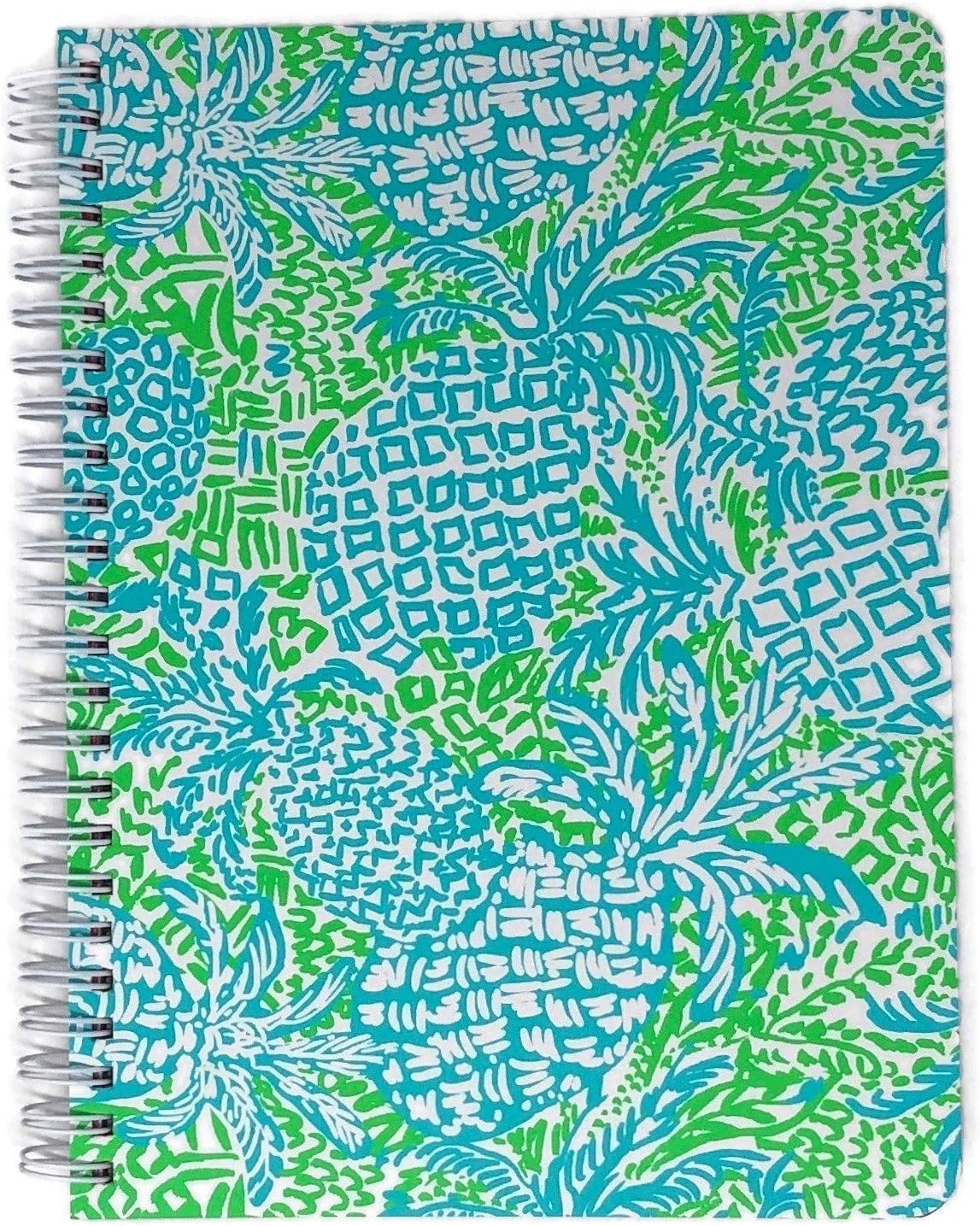 """Lilly Pulitzer Women's Blue/Green Mini Spiral Notebook, 8.25"""" x 6.5"""" with 160 College Ruled Pages, Home Slice"""