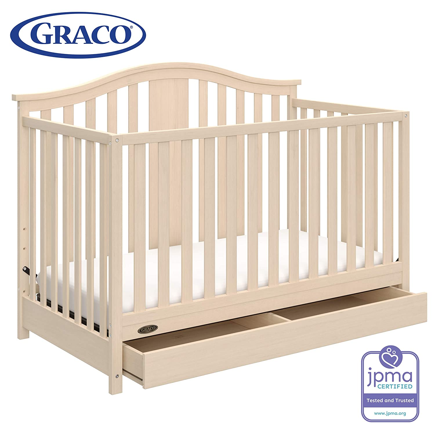 Graco Solano 4 in 1 Convertible Crib with Drawer, Whitewash, Easily Converts to Toddler Bed Day Bed or Full Bed, Three Position Adjustable Height Mattress, Assembly Required Mattress Not Included