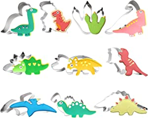 TmppDeco Dinosaur Cookie Cutter Set - 10 Piece Stainless Steel Shaped Cookie Candy Food Cutters Molds for DIY, Kitchen, Baking, Cake, Holiday Celebration, Kids Dinosaur Themed Birthday Party