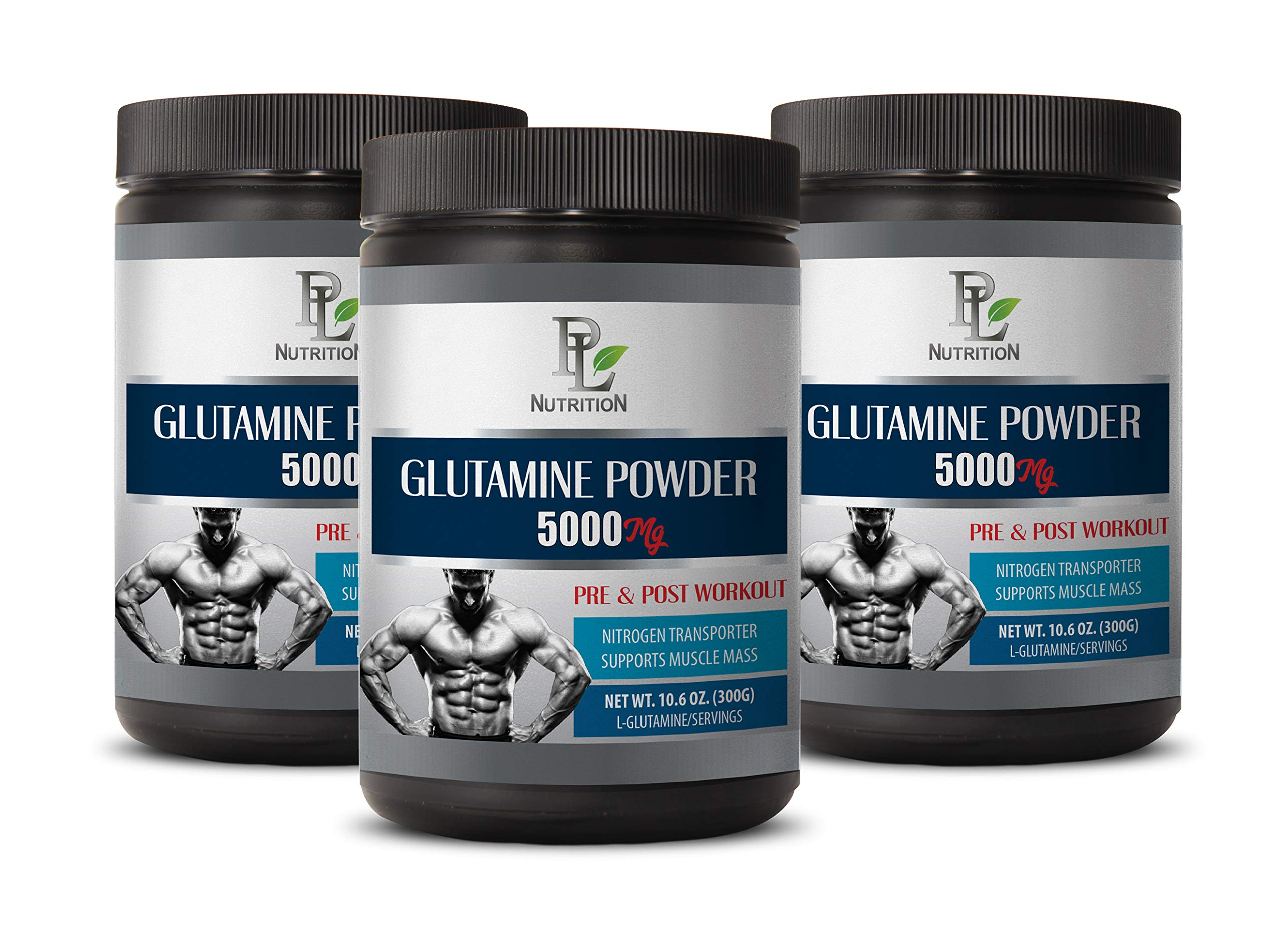 Post Workout Recovery - L-GLUTAMINE Powder 5000 MG - PRE & Post Workout - l-glutamine Bulk - 3 Cans 900 Grams