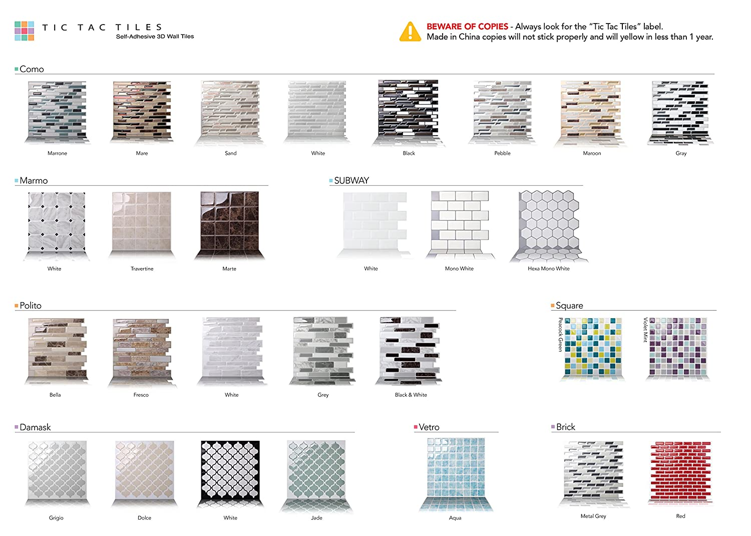 Amazon.com: Tic Tac Tile Mosaic Peel and Stick Wall Tile in Como ...