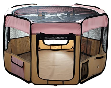 Esk Collection  Pet Puppy Dog Playpen Exercise Pen Kennel D Oxford Cloth Pink