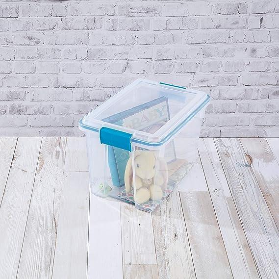 Storage Box 37-Quart Gasket Blue Aquarium Plastic Tight-Fitting Latches 4-Pack