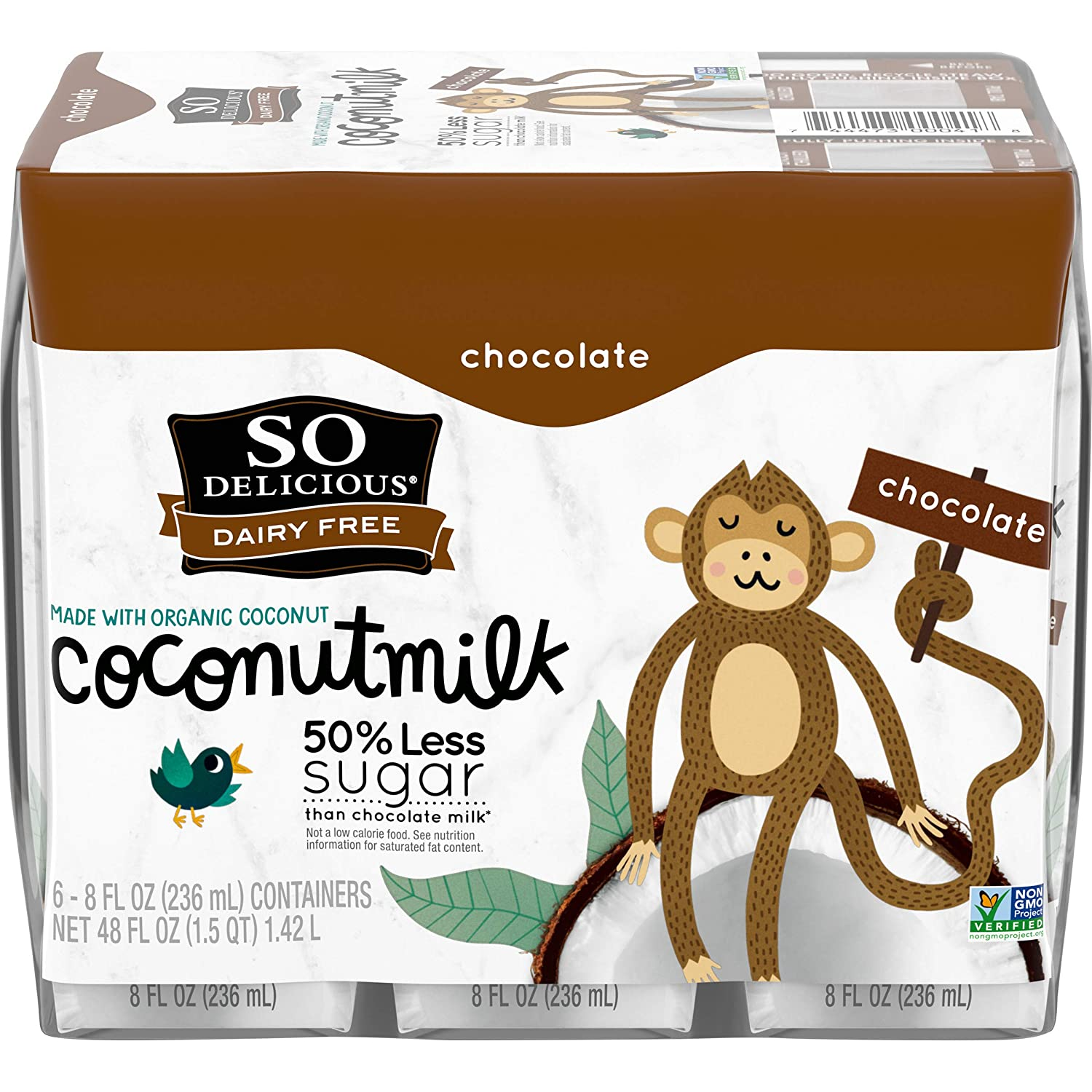 So Delicious Dairy Free Shelf-Stable Coconutmilk Boxes, Chocolate, Vegan, Non-GMO Project Verified, Single Serve, 8 oz., 6 Pack