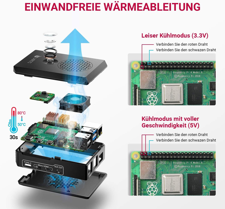 1.5M Micro HDMI Kabl LABISTS Geh/äuse f/ür Raspberry Pi 4 Raspberry Pi Geh/äuse mit 3A USB-C Netzteil K/ühlung L/üfter 3 /× K/ühlk/örper f/ür Raspberry Pi 4 Modell B