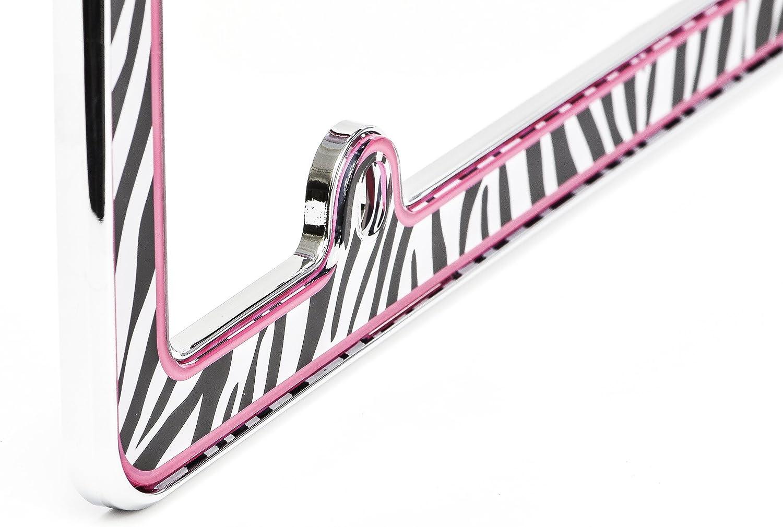 Chroma 6039 Pink Zebra Stripe Chromed Plastic Auto Frame License Plate Frame Tag Holder
