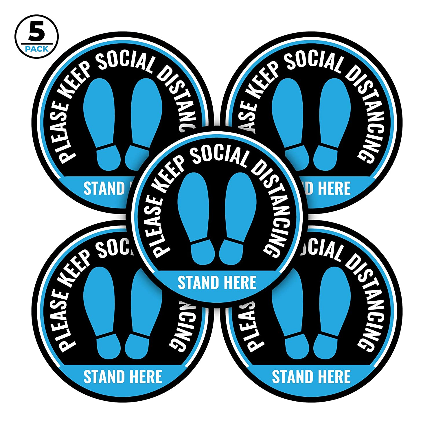 Set of 5 Blue Floor Stickers, 12 Inch Diameter - Social Distancing Floor Decals - Easy to Remove, Waterproof - 6 Feet Apart Sticker Leaves No Residual Glue - Great for Schools, Offices, Retail Stores
