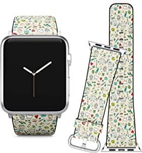 Compatible with Apple Watch (42/44 mm) Series 5, 4, 3, 2, 1 // Leather Replacement Bracelet Strap Wristband + Adapters // Dental Sketch Your
