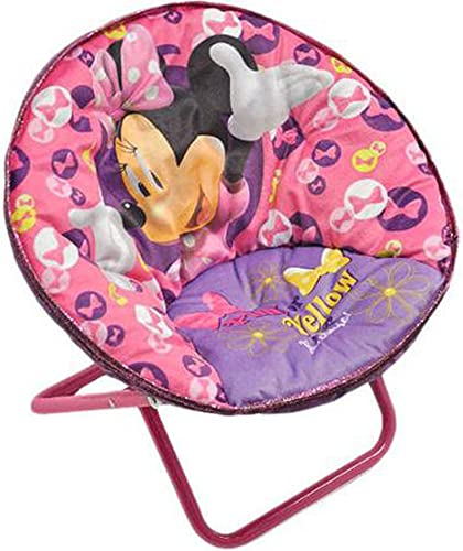 Disney Minnie Mouse Saucer Chair Pink Toddler Kids Seat Portable Character Comfortable Seating Saucer Shape Sturdy Metal Frame Polyester Cushioned Seat Playroom Easy Storage Bedroom