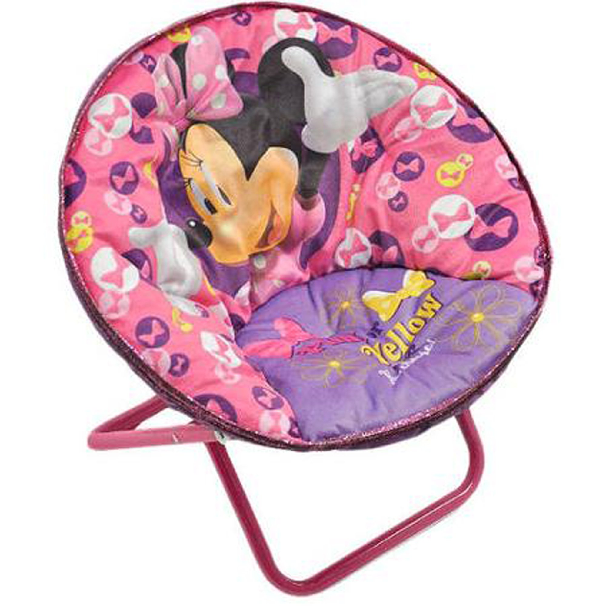 Minnie Mouse Disney Saucers Chair Pink Toddler Kids Seat Portable Character Comfortable Saucer Shape Sturdy Metal Frame Polyester Cushioned Seat Playroom Easy Storage Bedroom (Pack of Two)