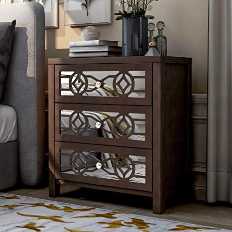 Amazon Com Storage Cabinet Wood Accent With Three Drawers And Decorative Mirror Espresso Kitchen Dining