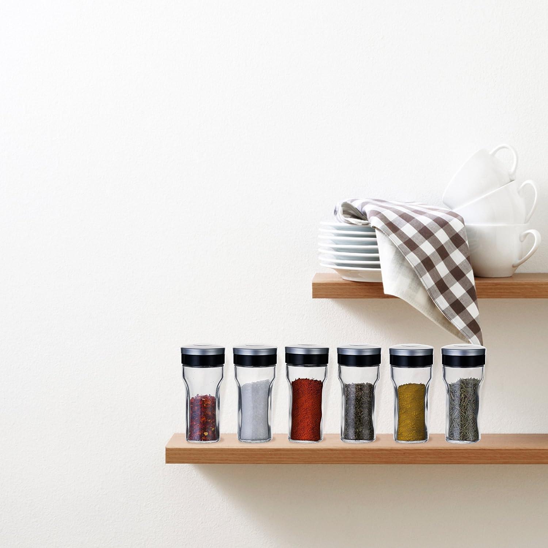 KitchenGet - Juego de 6 recipientes de cristal para especias (cada botella de tarro de 80 ml): Amazon.es: Hogar