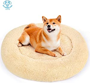 PUPPBUDD Donut Dog Bed Cat Bed, Faux Fur Pet Bed Calming & Self-Warming Donut Cuddler, Comfortable Round Oval Long Plush Dog Beds for Large Medium Dogs and Cats (Multiple Sizes)