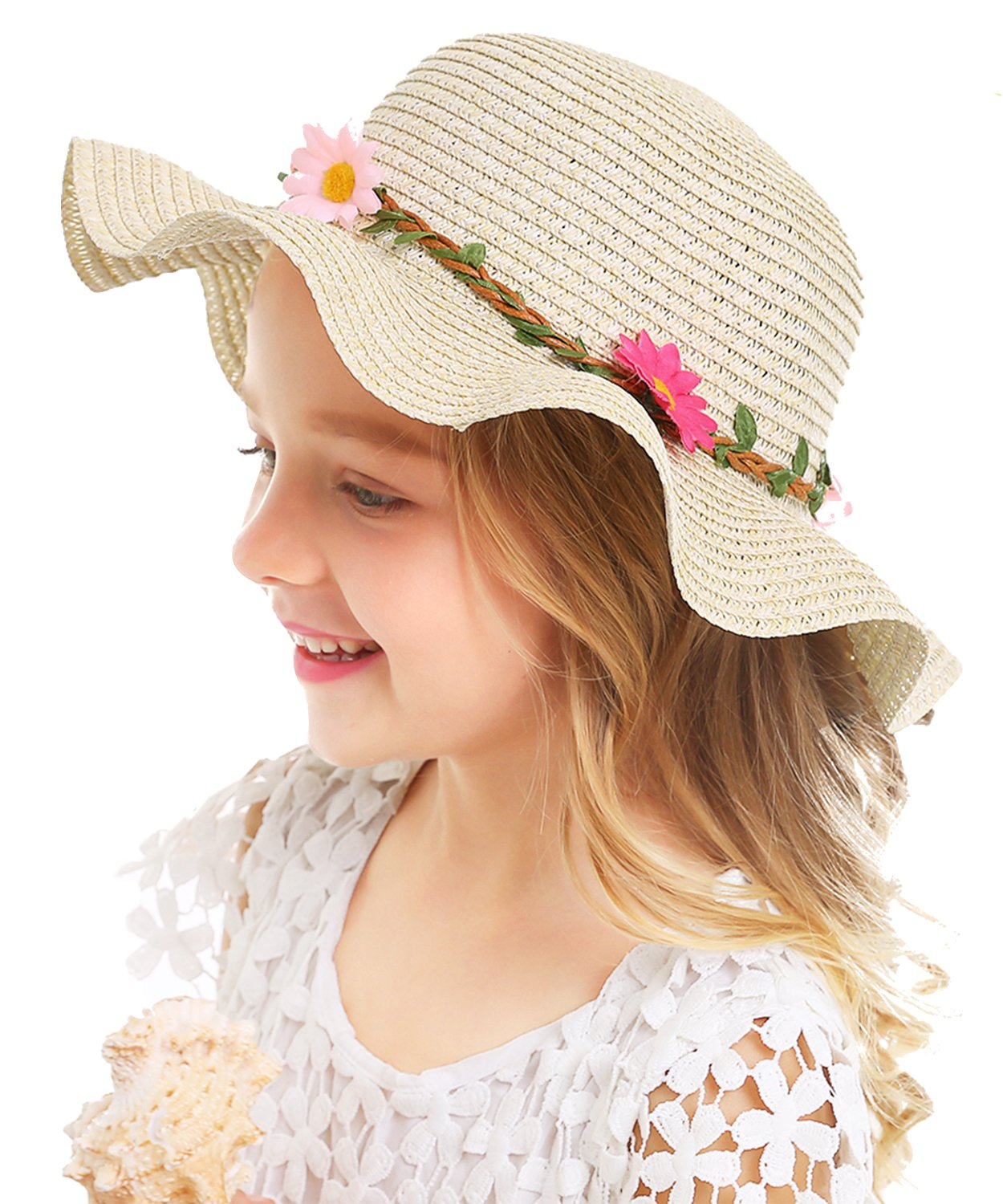 Bienvenu Sun Straw Hat Kids Girls Large Wide Brim Travel Beach Beanie Cap,Beige by Bienvenu (Image #1)
