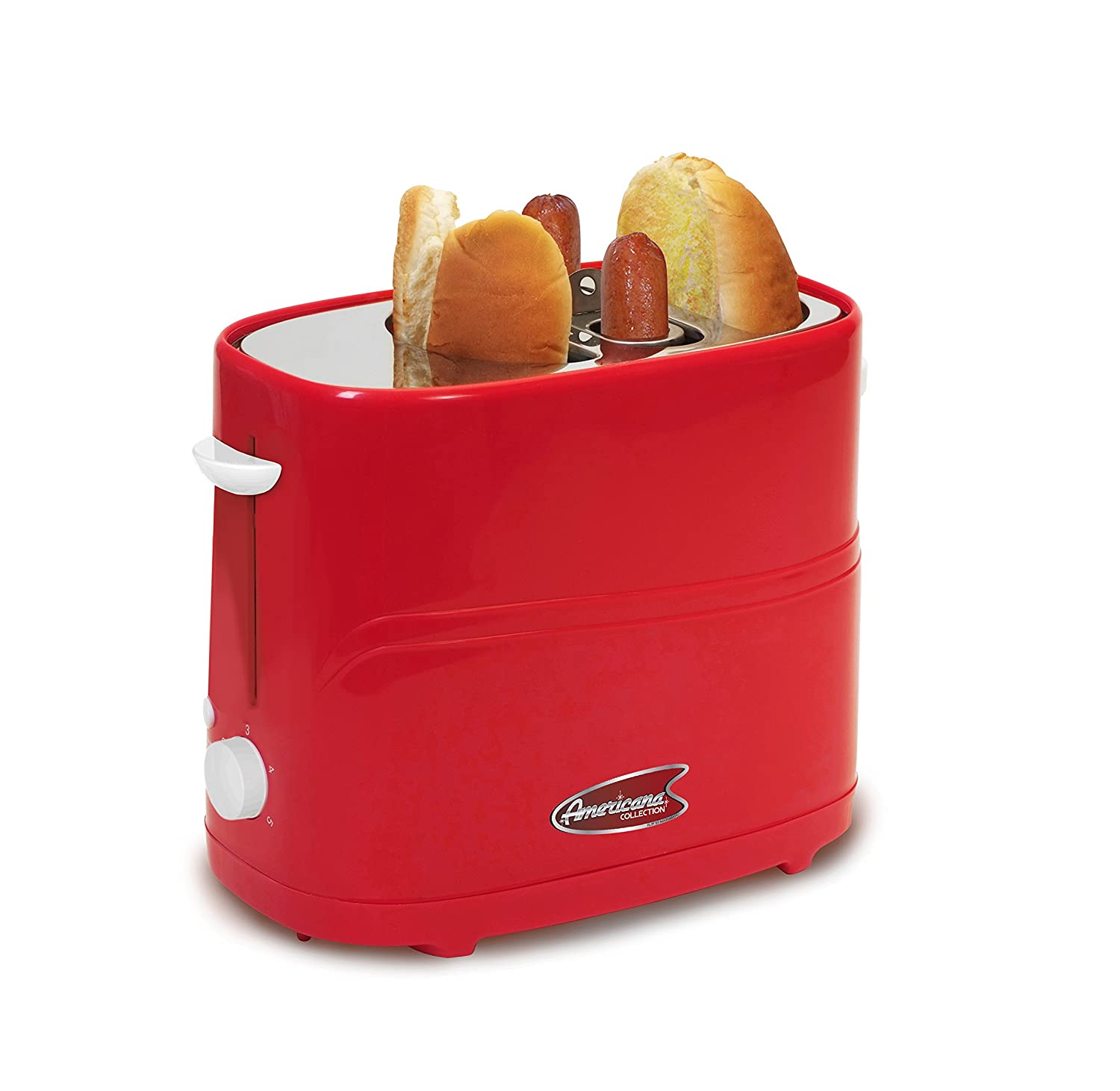 Americana By Elite ECT-542R Retro Pop-Up Hot Dog Toaster Cooker Machine Red