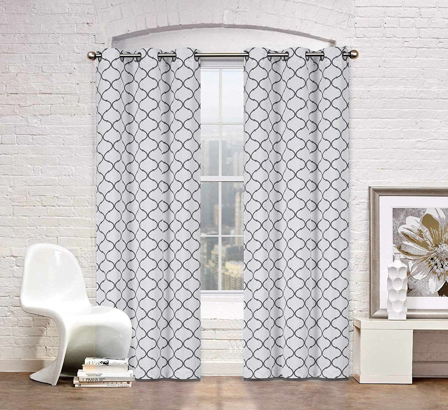 2 Pack: Regal Home Collections Premium Trellis Grommet Curtain Panels - Assorted Colors (Gray)