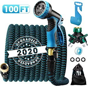 "Delxo 2020 Upgrade100FT Expandable Garden Hose Water Hose with 9-Function High-Pressure Spray Nozzle, Heavy Duty Flexible Hose, 3/4"" Solid Brass Fittings Leakproof Design"