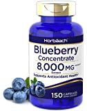 Horbaach Blueberry Extract 8000 mg   150 Capsules   Blueberry Concentrate Supplement   Non-GMO, Gluten Free