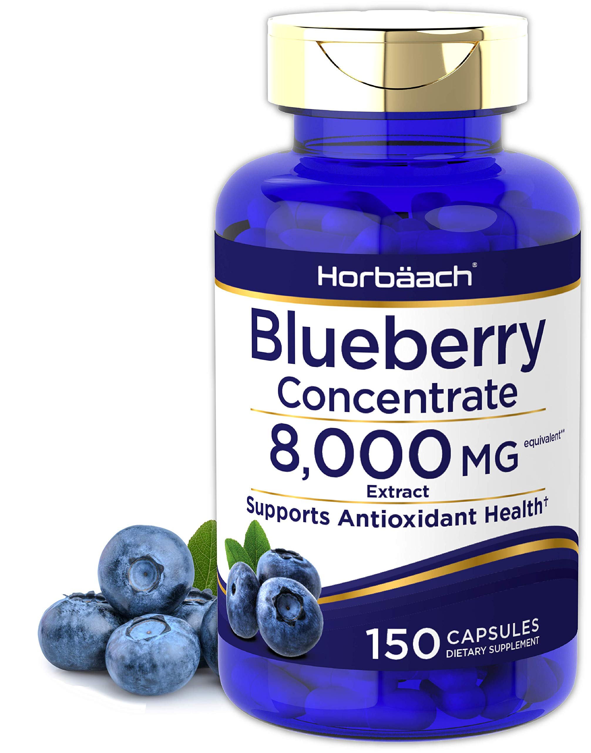 Horbaach Blueberry Extract 8000 mg | 150 Capsules | Blueberry Concentrate Supplement | Non-GMO, Gluten Free