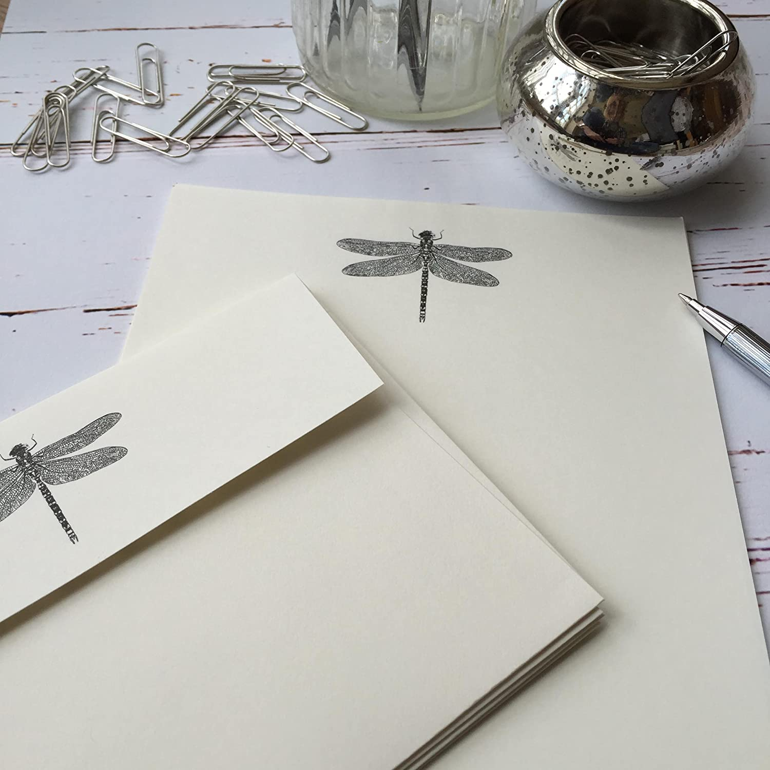 Writing Paper Gift Set With Dragonfly design from Wagtail Designs in a lovely Black Box with Ribbon (18)