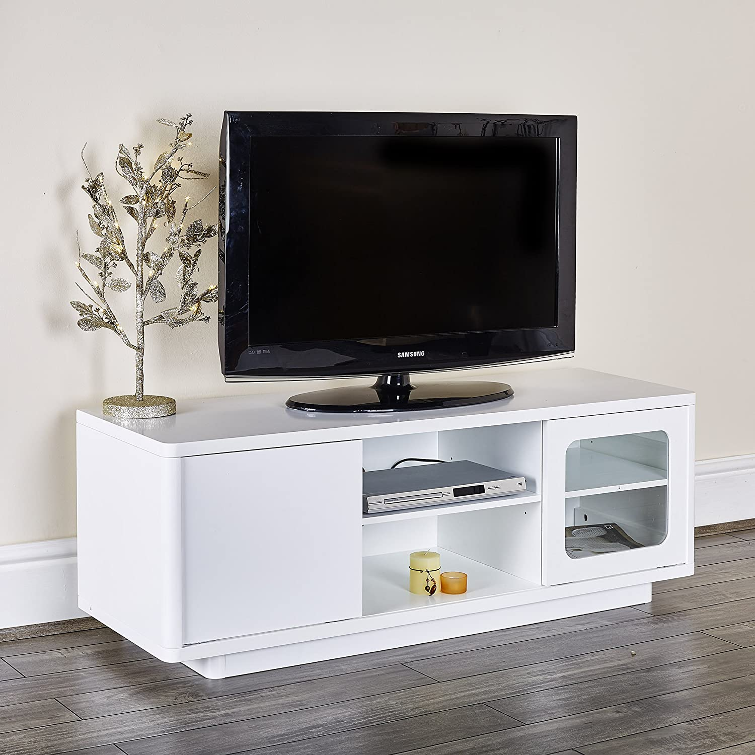 Abreo Tv Unit Cabinet Entertainment Stand With Shelves Sliding Doors