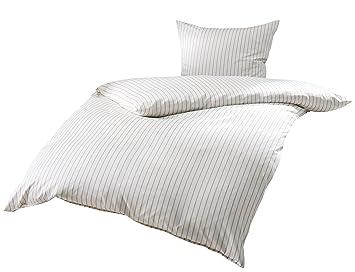 Mako Satin Bettwäsche Beige Weiß Gestreift 155x200 80x80 Cm 100