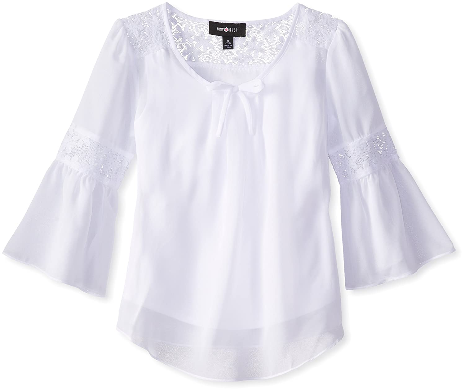 Amy Byer girls Big Girls Bell Sleeve Top With Lace Inset Amy Byer Girls 7-16 2054H33