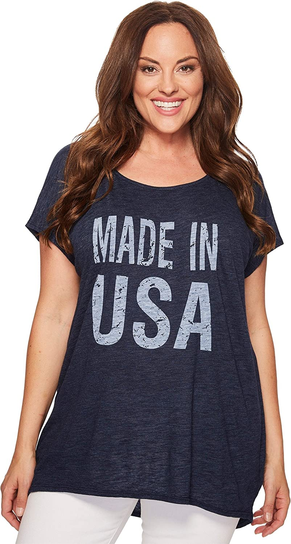 Allen Allen Womens Plus Size Made in USA Cap Sleeve Tee