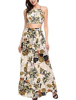 2f366a23bf EFINNY Women Floral Bandage Maxi Dresses Beach Two Piece Boho Crop ...