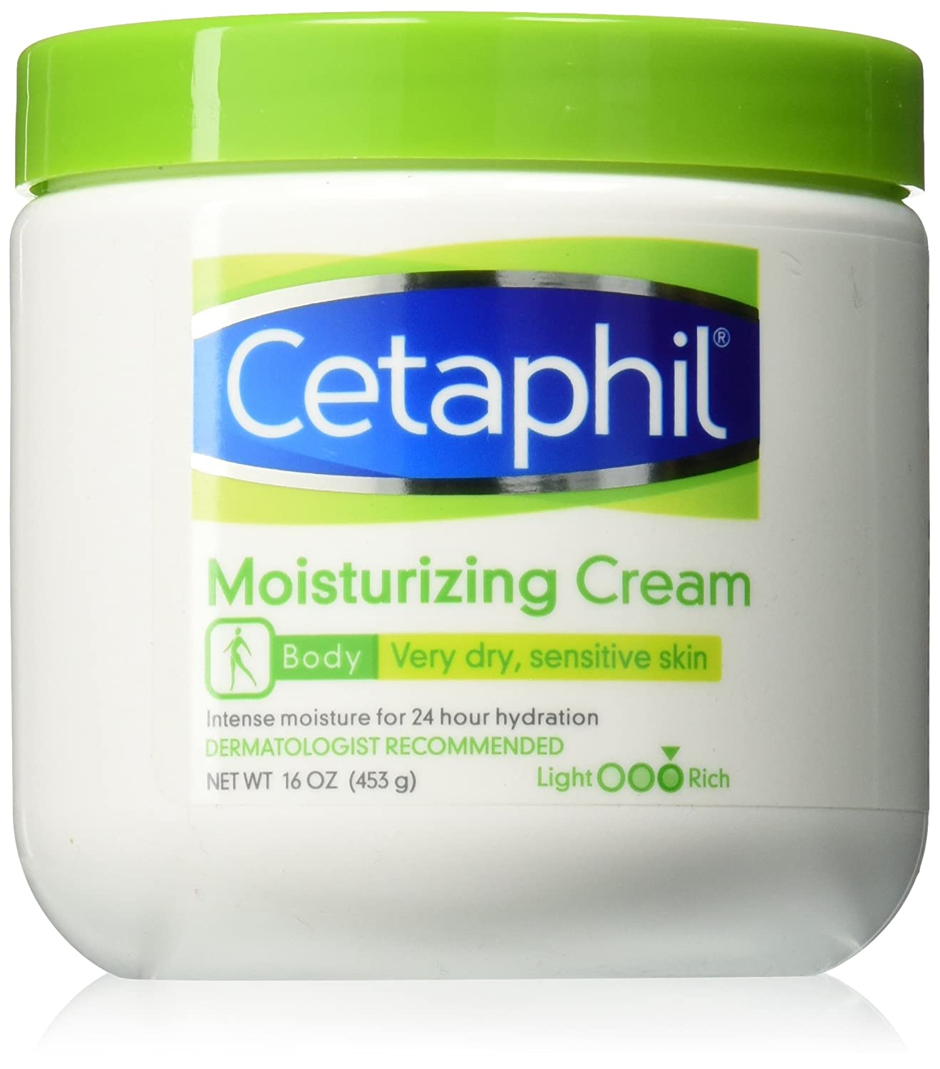 Cetaphil Moisturizing Cream for Very Dry/Sensitive Skin, Fragrance Free, 16 Ounce