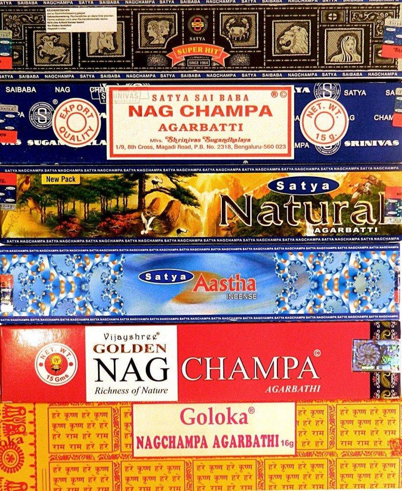 Varillas de incienso 12 cajitas Satya Nag Champa Goloka 6 Nagchampa aroma fragancia ambientador product image